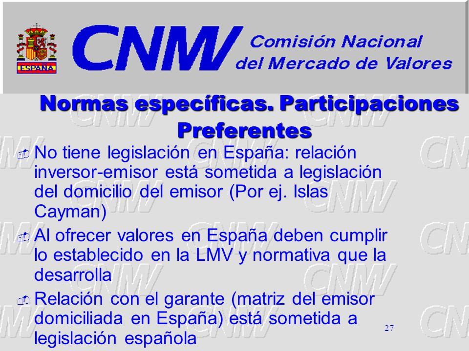 27 Normas específicas. Participaciones Preferentes No tiene legislación en España: relación inversor-emisor está sometida a legislación del domicilio