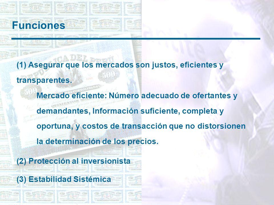 Funciones (1) Asegurar que los mercados son justos, eficientes y transparentes.