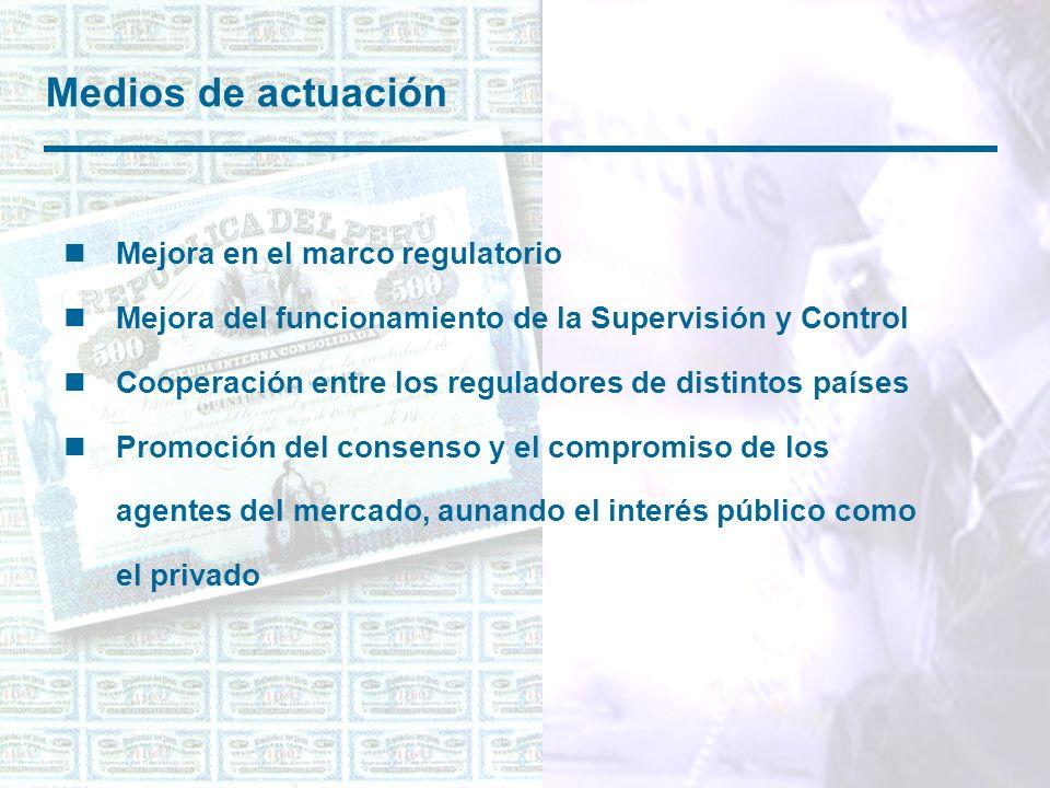 Medios de actuación nMejora en el marco regulatorio nMejora del funcionamiento de la Supervisión y Control nCooperación entre los reguladores de distintos países nPromoción del consenso y el compromiso de los agentes del mercado, aunando el interés público como el privado