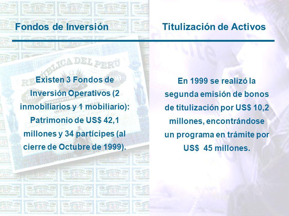 Fondos de Inversión Titulización de Activos Existen 3 Fondos de Inversión Operativos (2 inmobiliarios y 1 mobiliario): Patrimonio de US$ 42,1 millones y 34 partícipes (al cierre de Octubre de 1999).