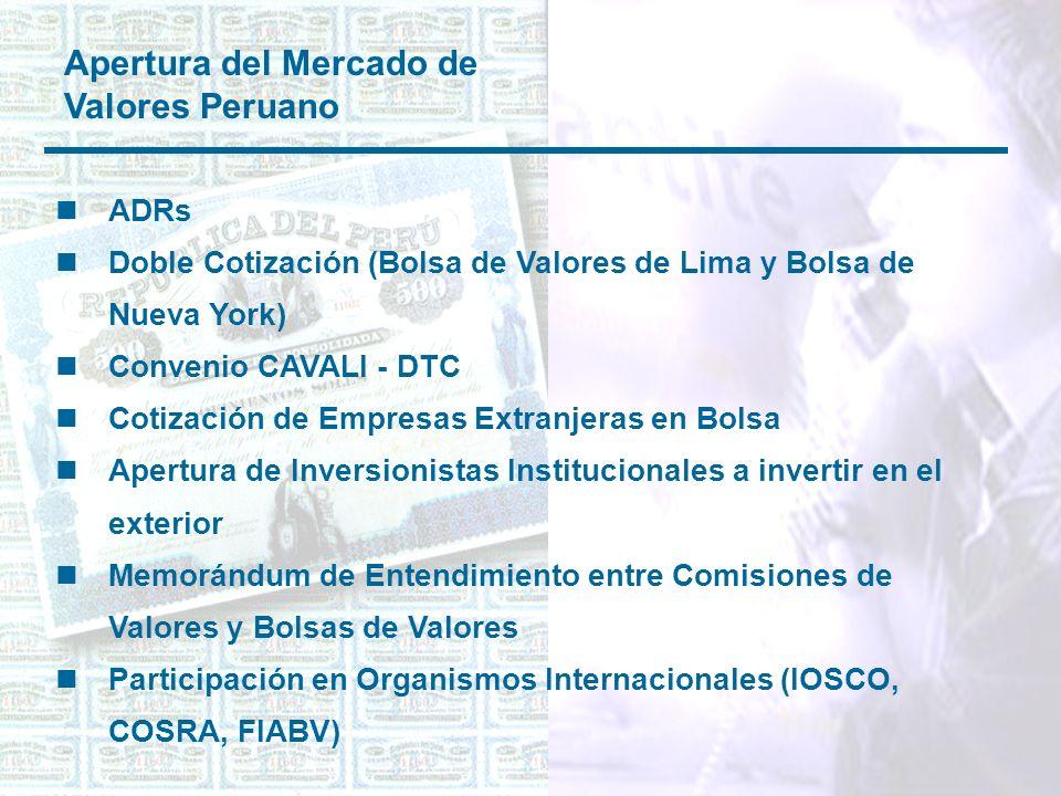 Apertura del Mercado de Valores Peruano nADRs nDoble Cotización (Bolsa de Valores de Lima y Bolsa de Nueva York) nConvenio CAVALI - DTC nCotización de Empresas Extranjeras en Bolsa nApertura de Inversionistas Institucionales a invertir en el exterior nMemorándum de Entendimiento entre Comisiones de Valores y Bolsas de Valores nParticipación en Organismos Internacionales (IOSCO, COSRA, FIABV)