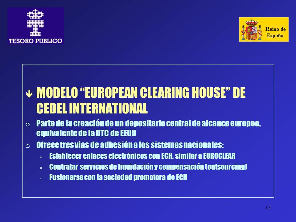13 ê MODELO EUROPEAN CLEARING HOUSE DE CEDEL INTERNATIONAL Parte de la creación de un depositario central de alcance europeo, equivalente de la DTC de
