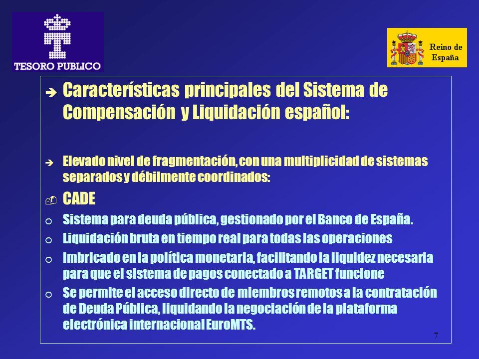 7 Características principales del Sistema de Compensación y Liquidación español: Elevado nivel de fragmentación, con una multiplicidad de sistemas sep