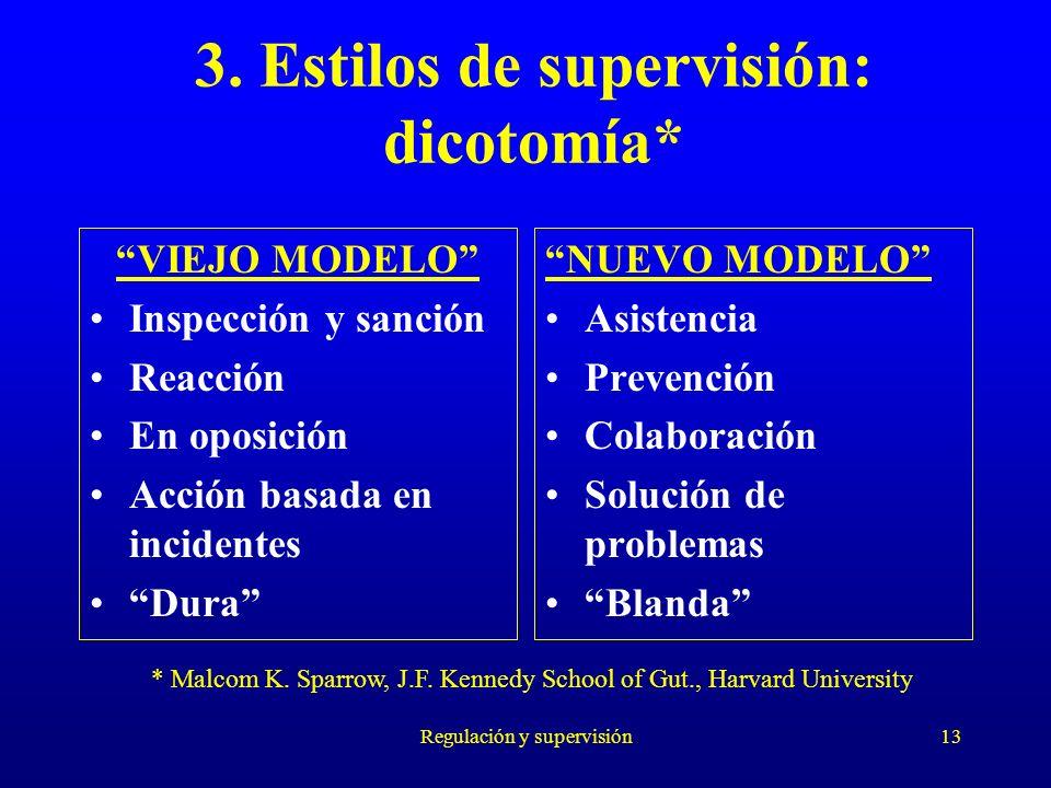 Regulación y supervisión13 3. Estilos de supervisión: dicotomía* VIEJO MODELO Inspección y sanción Reacción En oposición Acción basada en incidentes D