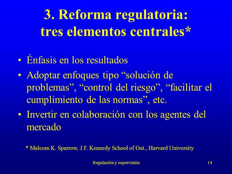 Regulación y supervisión14 3. Reforma regulatoria: tres elementos centrales* Énfasis en los resultados Adoptar enfoques tipo solución de problemas, co