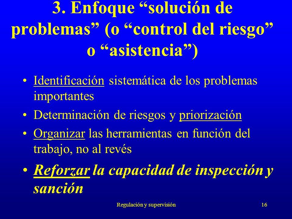 Regulación y supervisión16 3. Enfoque solución de problemas (o control del riesgo o asistencia) Identificación sistemática de los problemas importante