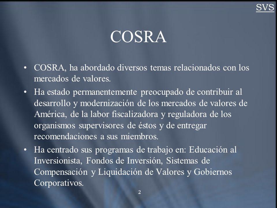 SVS 2 COSRA COSRA, ha abordado diversos temas relacionados con los mercados de valores.