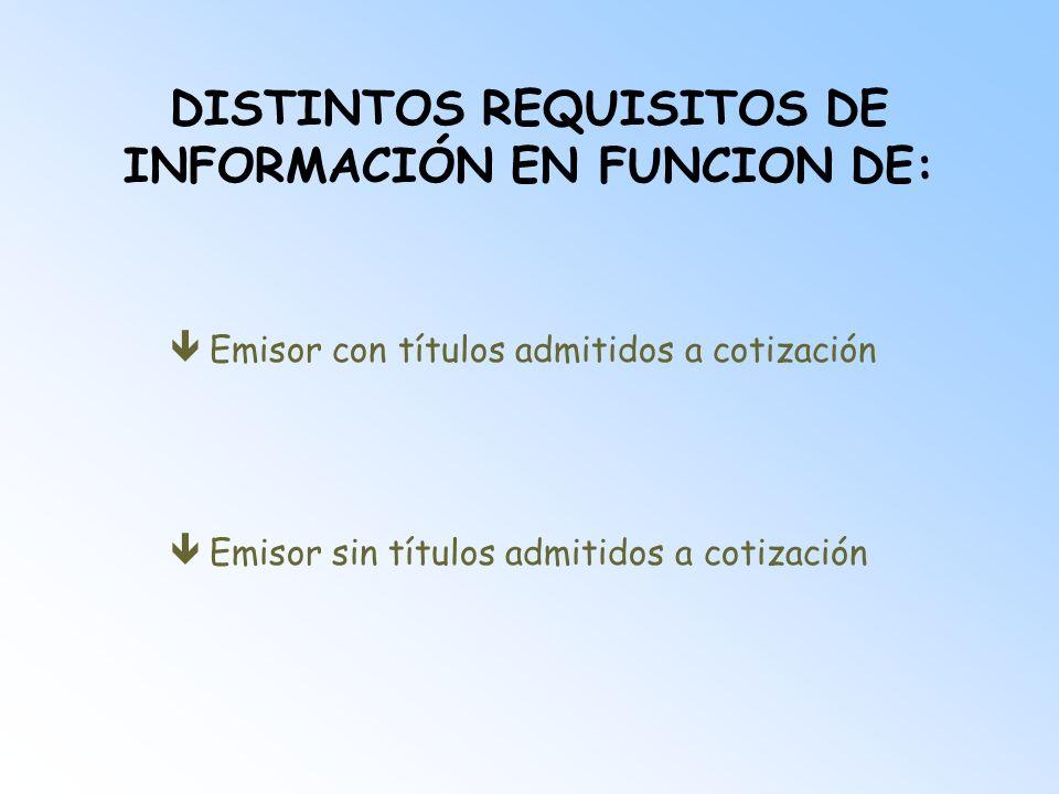 DISTINTOS REQUISITOS DE INFORMACIÓN EN FUNCION DE: êEmisor con títulos admitidos a cotización êEmisor sin títulos admitidos a cotización