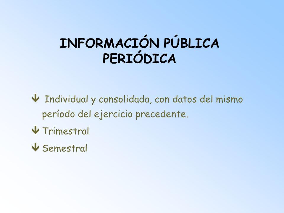 INFORMACIÓN PÚBLICA PERIÓDICA Estados financieros intermedios êNecesidad: uniformidad de la información periódica êA través de: presentación con la forma y criterios establecidos para las cuentas anuales.