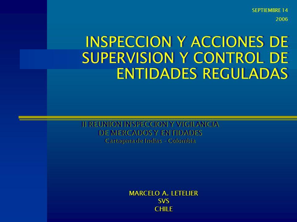 INSPECCION Y ACCIONES DE SUPERVISION Y CONTROL DE ENTIDADES REGULADAS II REUNION INSPECCION Y VIGILANCIA DE MERCADOS Y ENTIDADES Cartagena de Indias -