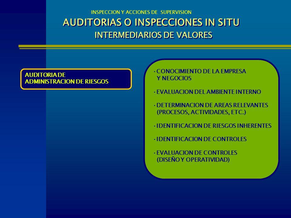 AUDITORIAS O INSPECCIONES IN SITU INTERMEDIARIOS DE VALORES INSPECCION Y ACCIONES DE SUPERVISION AUDITORIA DE ADMINISTRACION DE RIESGOS CONOCIMIENTO D