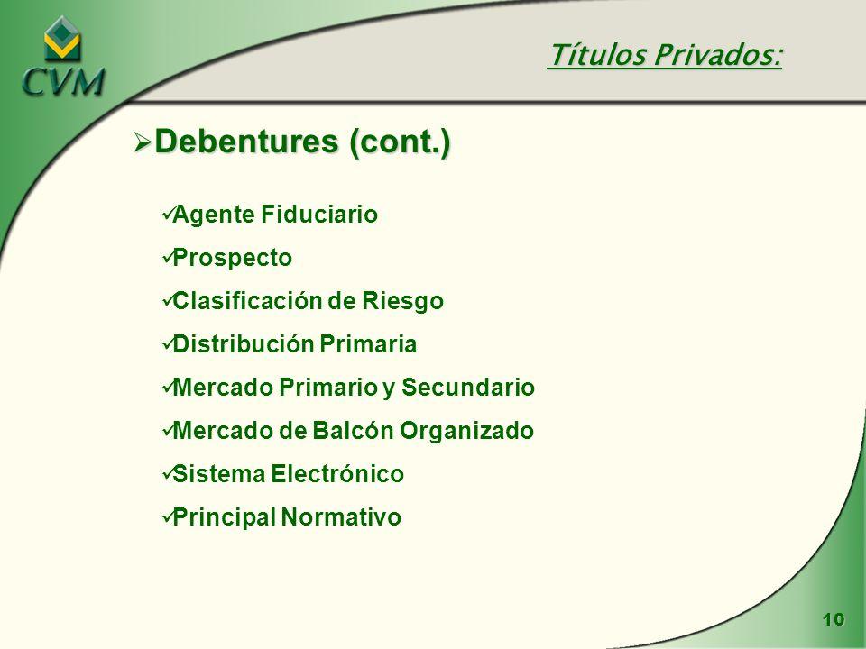 10 Debentures (cont.) Debentures (cont.) Agente Fiduciario Prospecto Clasificación de Riesgo Distribución Primaria Mercado Primario y Secundario Merca