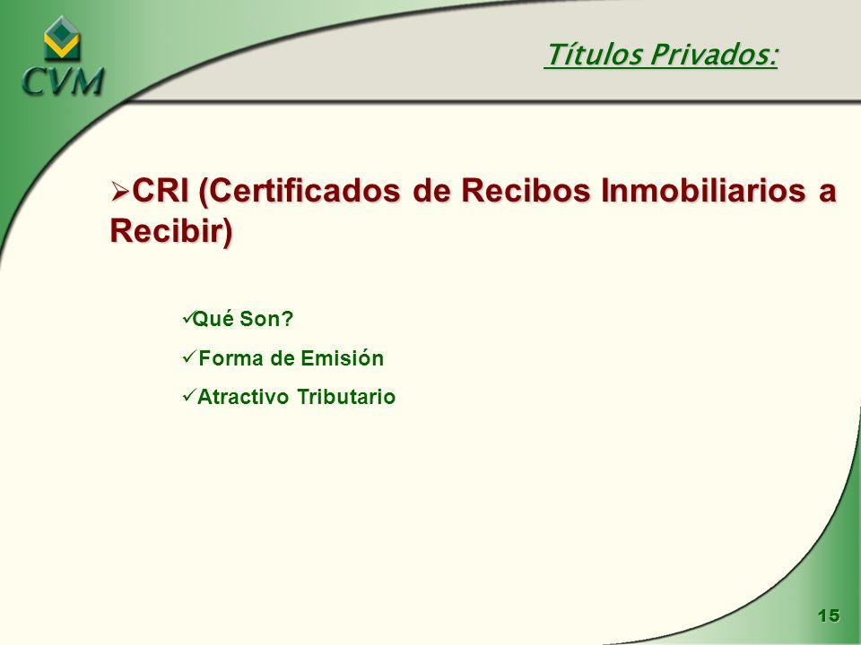 15 CRI (Certificados de Recibos Inmobiliarios a Recibir) CRI (Certificados de Recibos Inmobiliarios a Recibir) Qué Son? Forma de Emisión Atractivo Tri