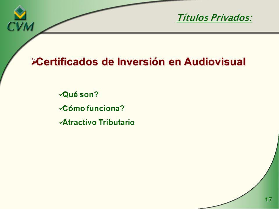 17 Certificados de Inversión en Audiovisual Certificados de Inversión en Audiovisual Qué son? Cómo funciona? Atractivo Tributario Títulos Privados: