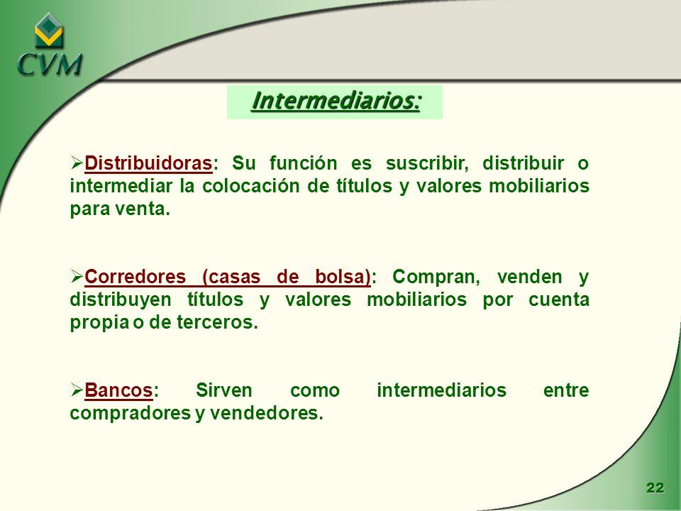 22 Distribuidoras: Su función es suscribir, distribuir o intermediar la colocación de títulos y valores mobiliarios para venta. Corredores (casas de b