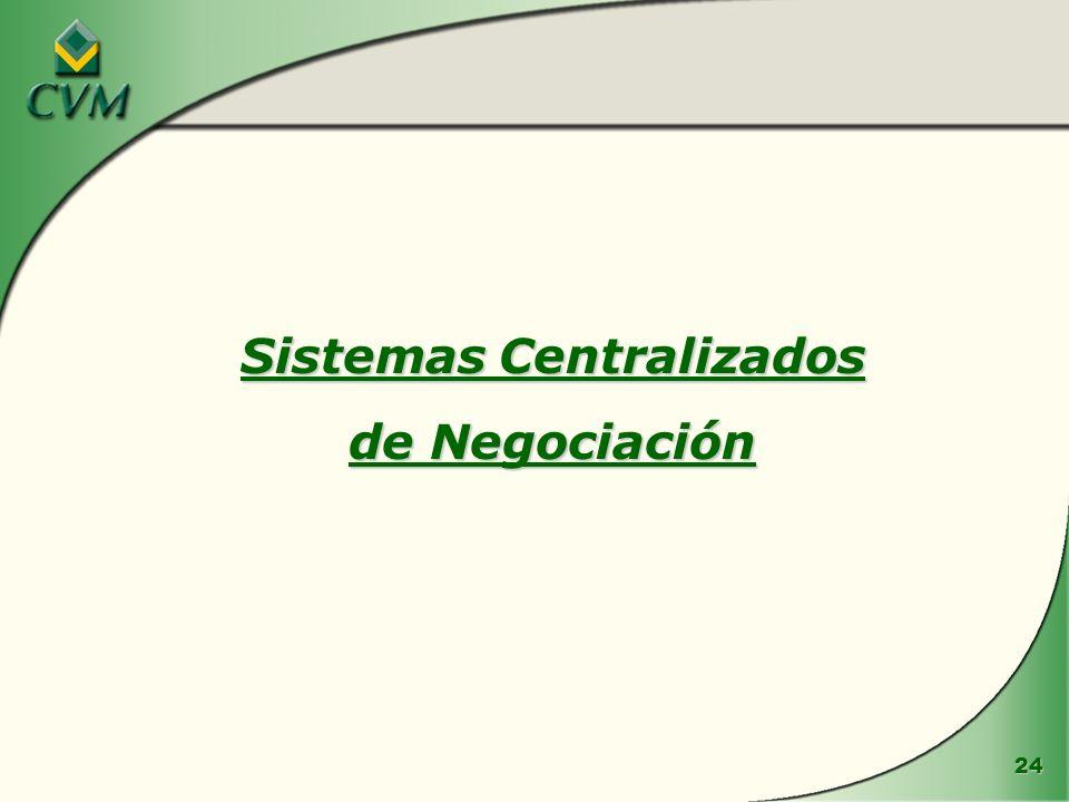 24 Sistemas Centralizados de Negociación