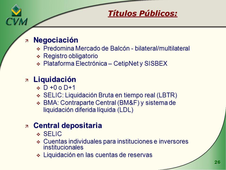 26 ä Negociación v Predomina Mercado de Balcón - bilateral/multilateral v Registro obligatorio v Plataforma Electrónica – CetipNet y SISBEX ä Liquidac