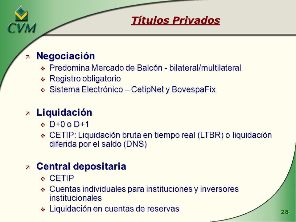 28 Títulos Privados ä Negociación v Predomina Mercado de Balcón - bilateral/multilateral v Registro obligatorio v Sistema Electrónico – CetipNet y Bov