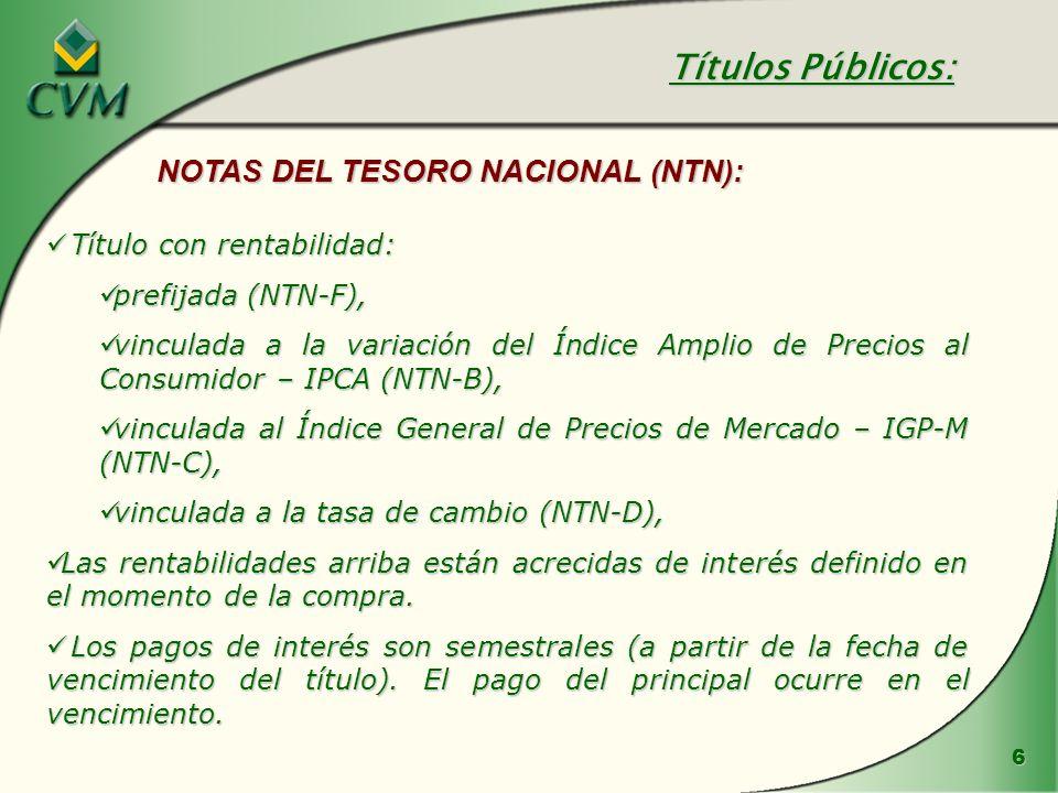 6 Título con rentabilidad: Título con rentabilidad: prefijada (NTN-F), prefijada (NTN-F), vinculada a la variación del Índice Amplio de Precios al Con