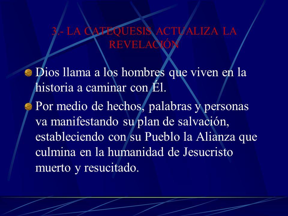 3.- LA CATEQUESIS ACTUALIZA LA REVELACIÓN Dios llama a los hombres que viven en la historia a caminar con Él.