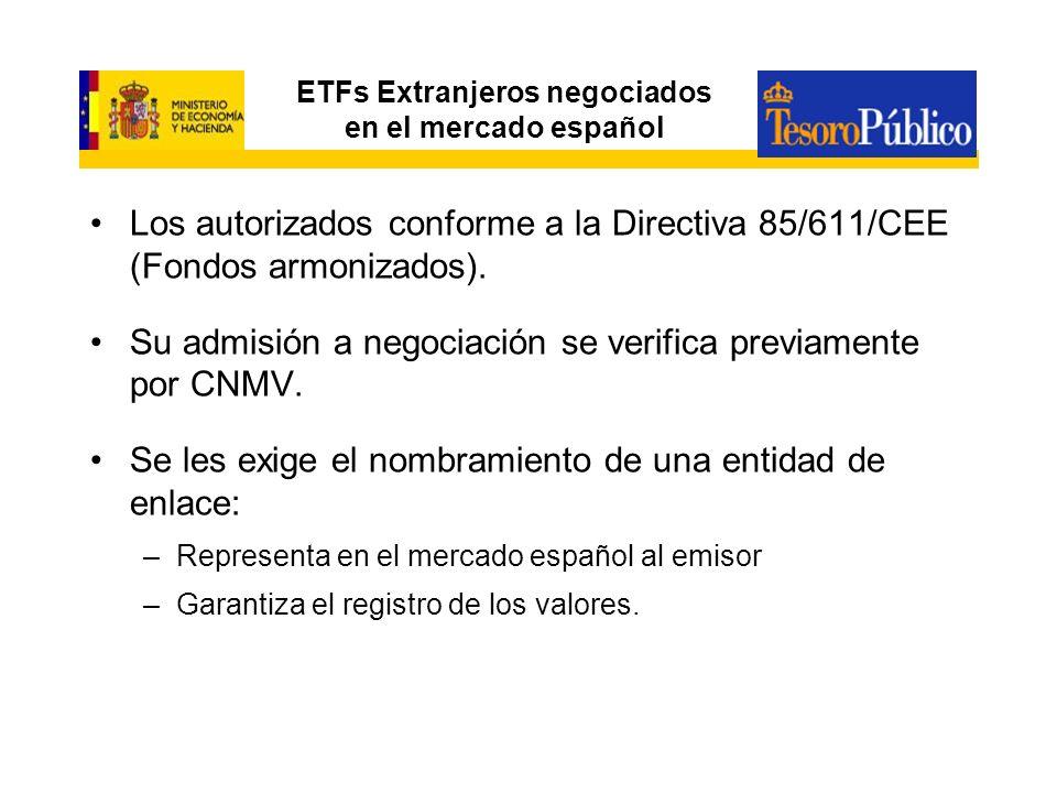 Fiscalidad de los ETF comercializados en España Sin obligación de practicar retención y sin diferimiento fiscal de traspasos: –ETFs españoles que cumplan los requisitos del artículo 49 del RIIC –ETFs extranjeros armonizados que se comercialicen en España, se negocien en la bolsa española y cumplan los mismos requisitos que los fondos nacionales para estar admitidos a negociación.(Consulta vinculante V0713-06 de la DGT de 12/04/06) –Este régimen fiscal no es aplicable a las IIC que revistan la forma de sociedad Con obligación de practicar retención y régimen de diferimiento fiscal a los traspasos a: –ETFs extranjeros armonizados que se comercialicen en España y estén admitidos a negociación en una bolsa de valores distinta a la española.