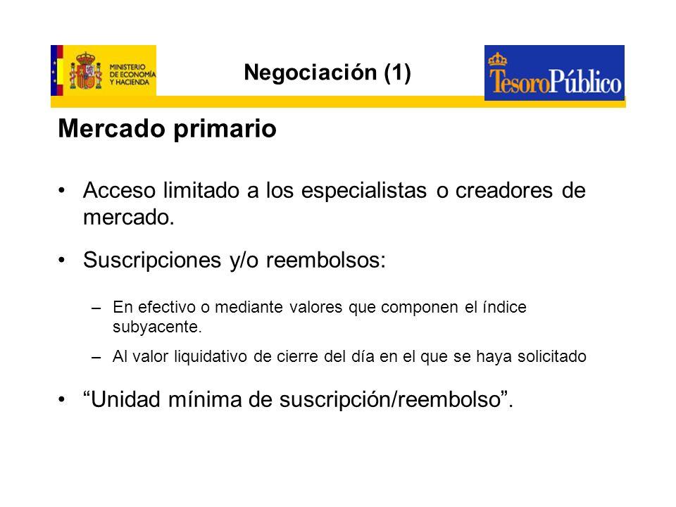 Negociación (2) Mercado Secundario Existen segmentos específicos de cada mercado.
