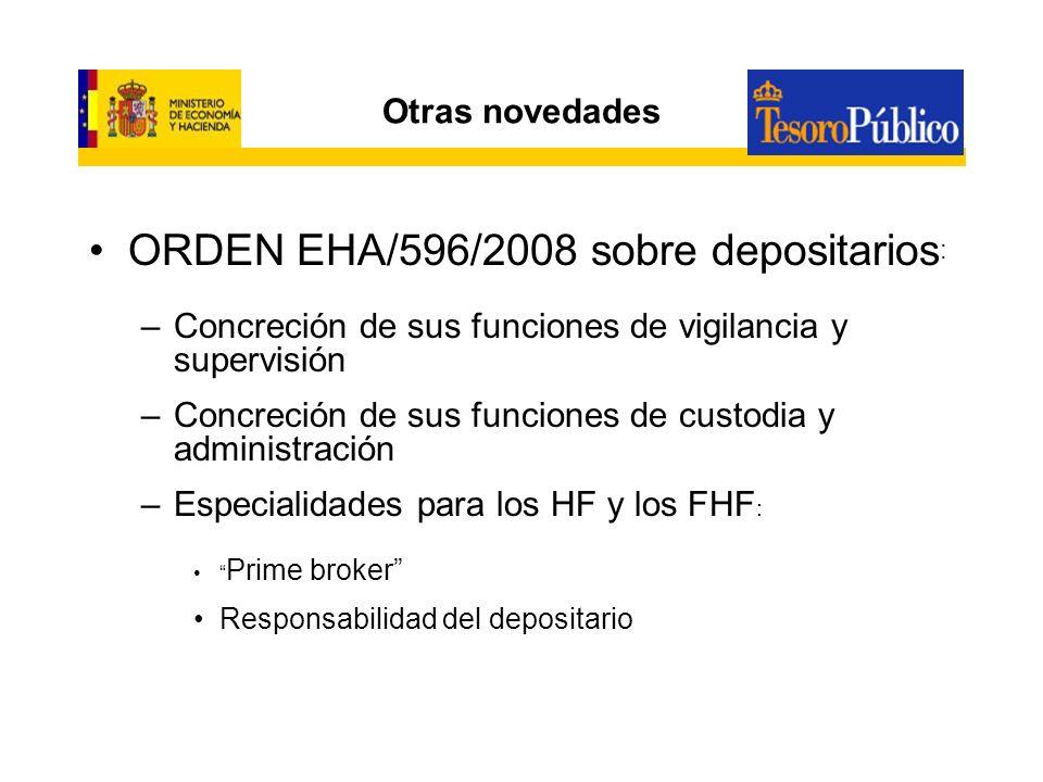 Otras novedades ORDEN EHA/888/2008 sobre derivados : –Aclaración de los activos aptos para la inversión –Finalidad para su utilización –Cómputo de límites sobre riesgos –Obligaciones de control interno –Transposición de la Directiva 2007/16/CE