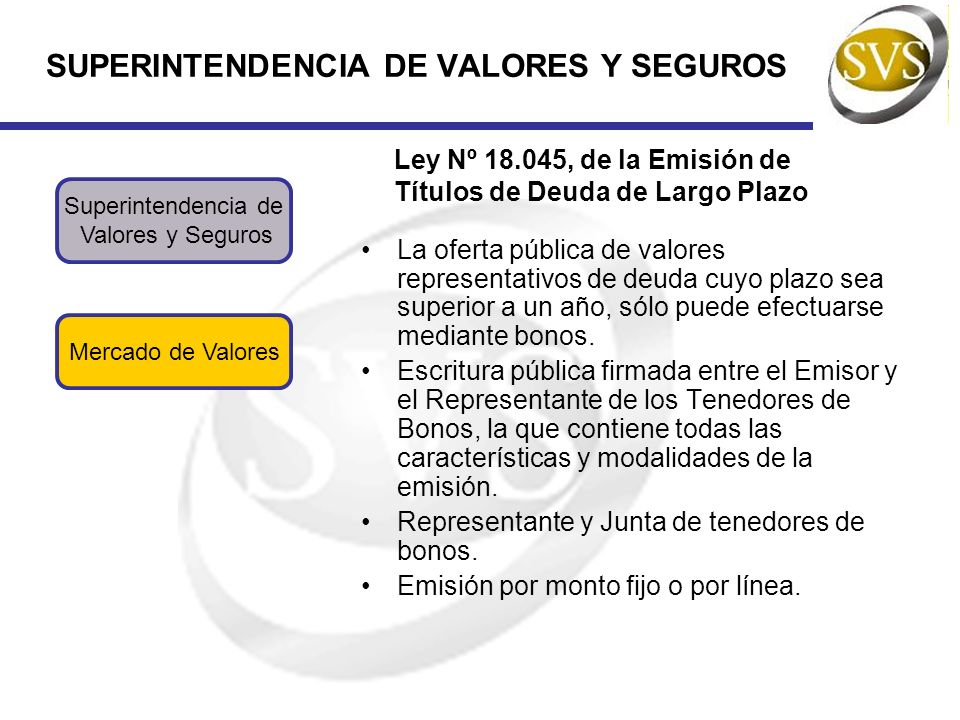 SUPERINTENDENCIA DE VALORES Y SEGUROS Mercado de Valores Superintendencia de Valores y Seguros Ley Nº 18.045, de la Emisión de Títulos de Deuda de Lar