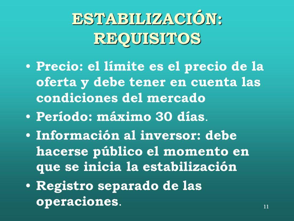11 ESTABILIZACIÓN: REQUISITOS Precio: el límite es el precio de la oferta y debe tener en cuenta las condiciones del mercado Período: máximo 30 días.