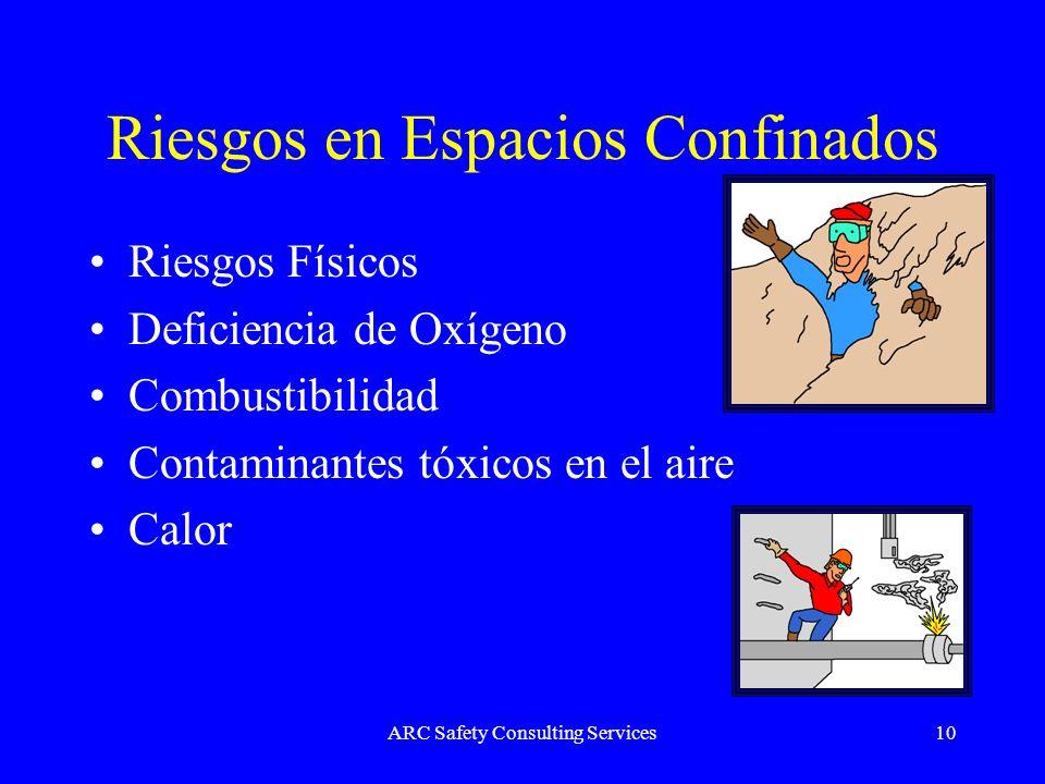 ARC Safety Consulting Services10 Riesgos en Espacios Confinados Riesgos Físicos Deficiencia de Oxígeno Combustibilidad Contaminantes tóxicos en el air