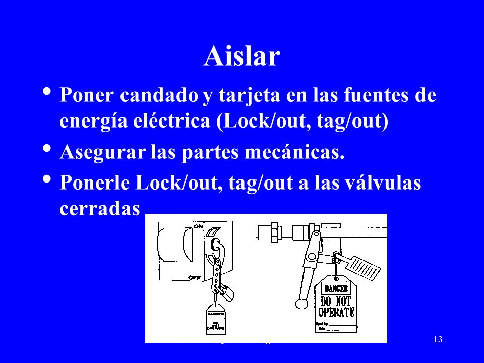 ARC Safety Consulting Services13 Aislar Poner candado y tarjeta en las fuentes de energía eléctrica (Lock/out, tag/out) Asegurar las partes mecánicas.