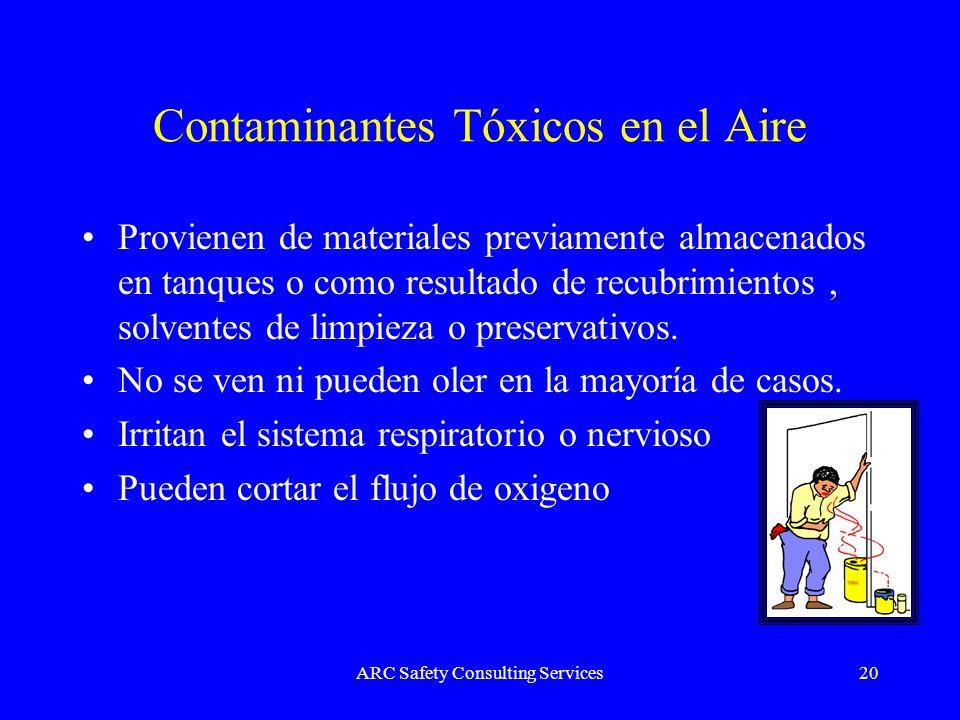 ARC Safety Consulting Services20 Contaminantes Tóxicos en el Aire Provienen de materiales previamente almacenados en tanques o como resultado de recub
