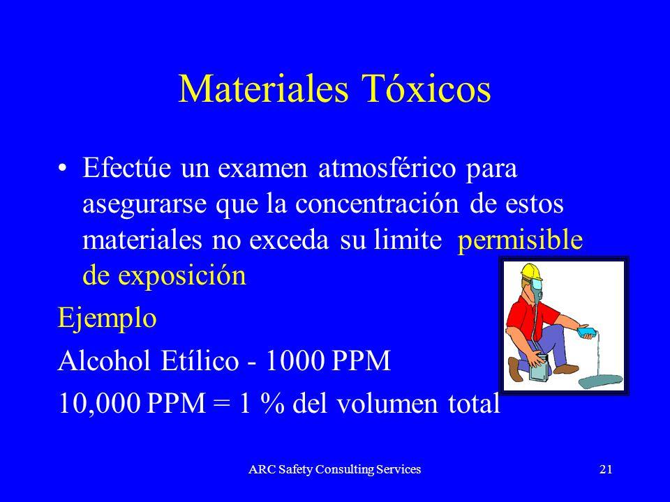ARC Safety Consulting Services21 Materiales Tóxicos Efectúe un examen atmosférico para asegurarse que la concentración de estos materiales no exceda s