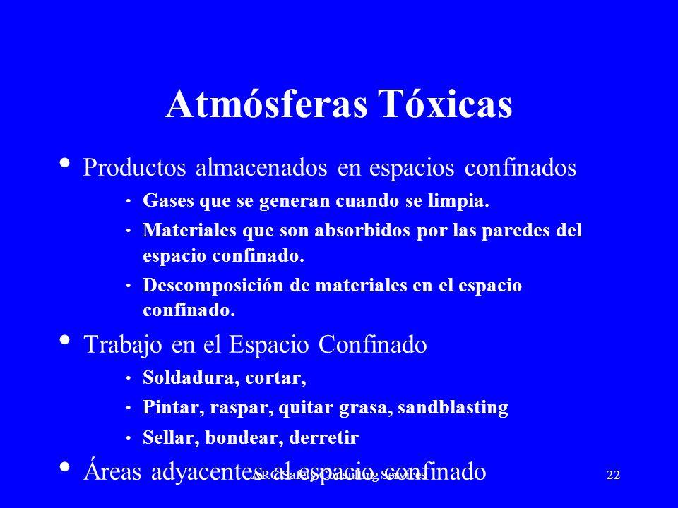 ARC Safety Consulting Services22 Atmósferas Tóxicas Productos almacenados en espacios confinados Gases que se generan cuando se limpia. Materiales que