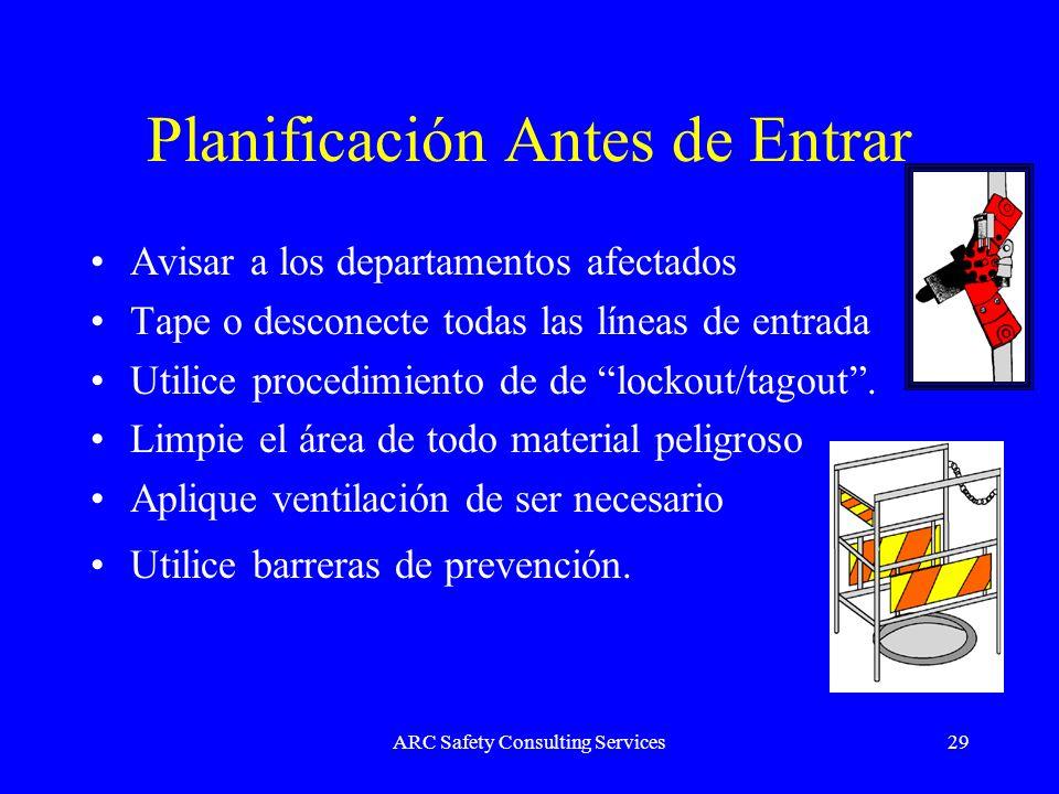 ARC Safety Consulting Services29 Planificación Antes de Entrar Avisar a los departamentos afectados Tape o desconecte todas las líneas de entrada Util
