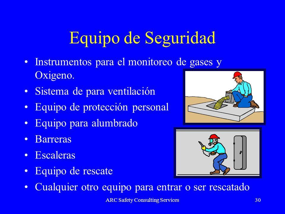 ARC Safety Consulting Services30 Equipo de Seguridad Instrumentos para el monitoreo de gases y Oxigeno. Sistema de para ventilación Equipo de protecci