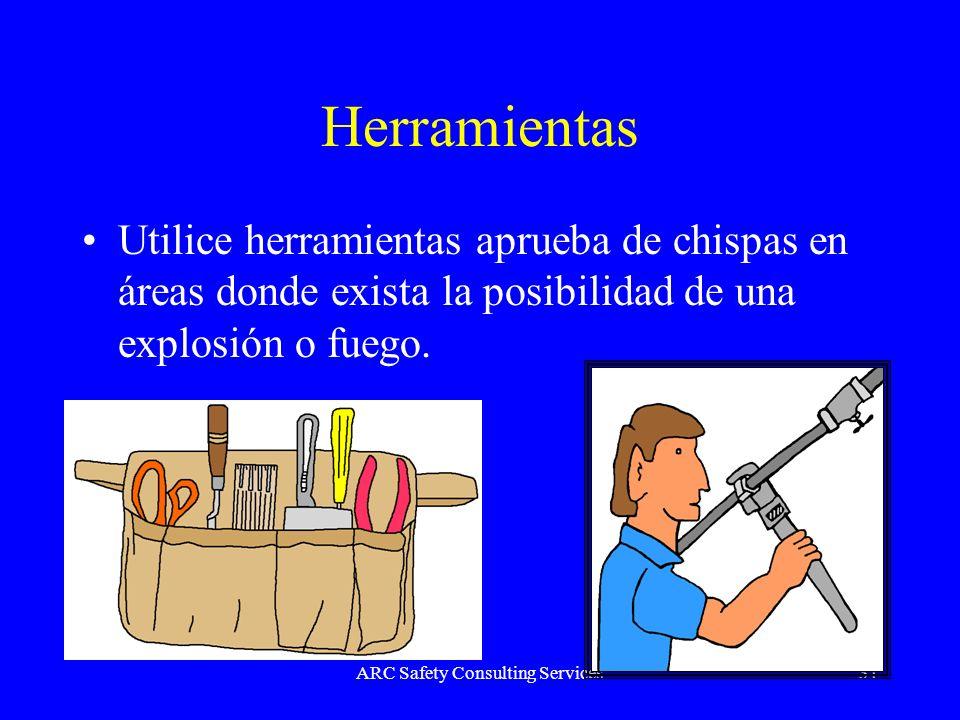 ARC Safety Consulting Services31 Herramientas Utilice herramientas aprueba de chispas en áreas donde exista la posibilidad de una explosión o fuego.