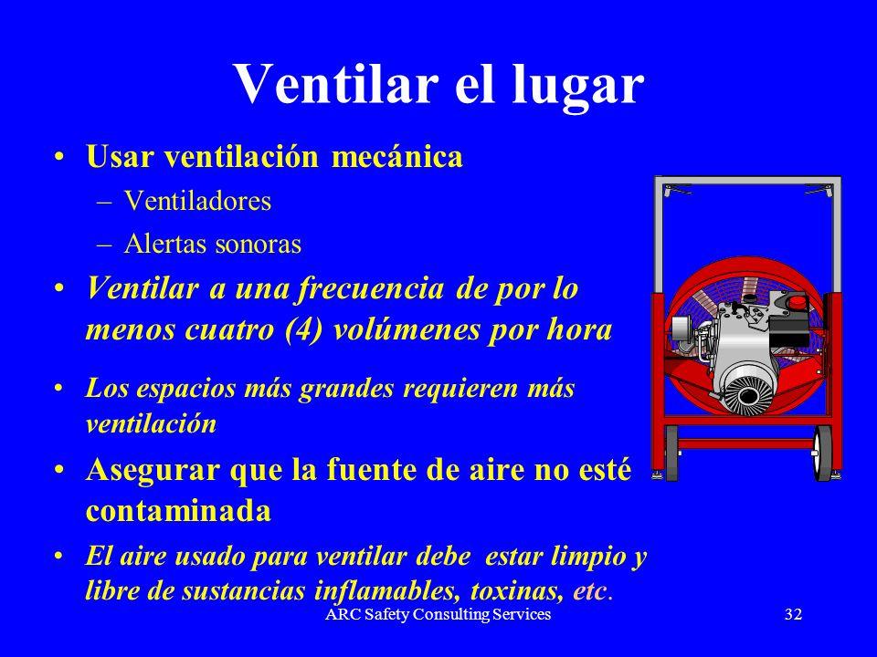 ARC Safety Consulting Services32 Ventilar el lugar Usar ventilación mecánica –Ventiladores –Alertas sonoras Ventilar a una frecuencia de por lo menos