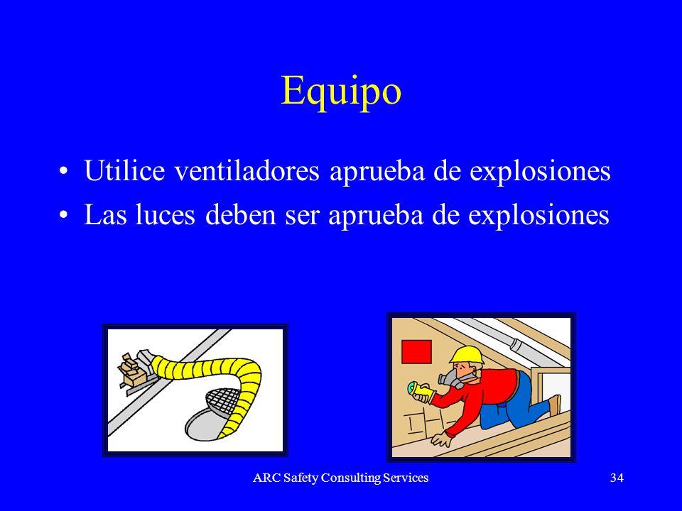 ARC Safety Consulting Services34 Equipo Utilice ventiladores aprueba de explosiones Las luces deben ser aprueba de explosiones
