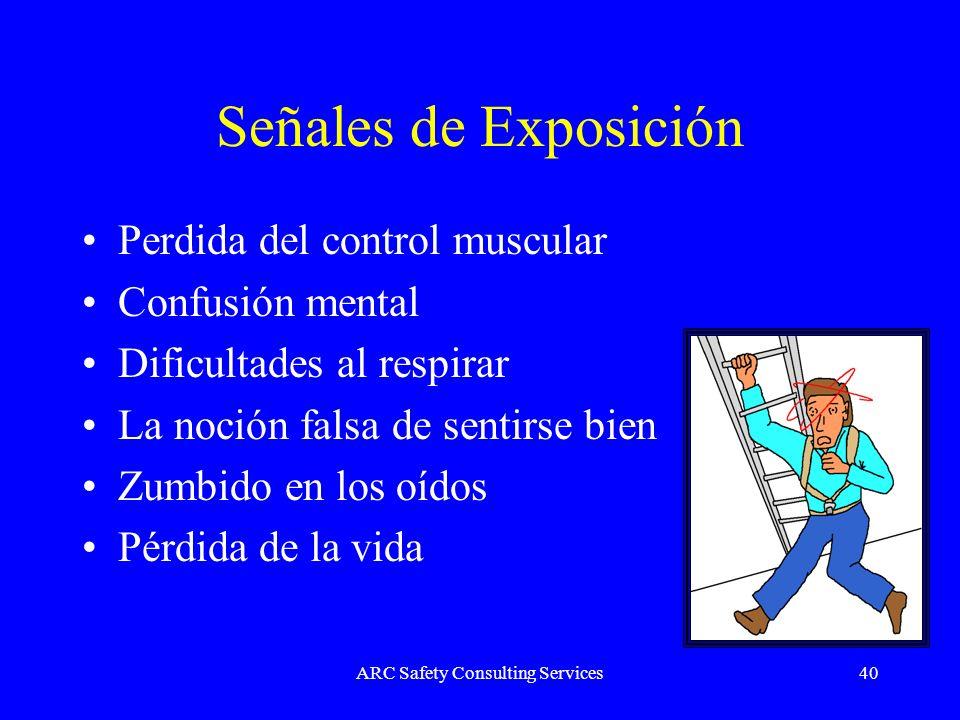 ARC Safety Consulting Services40 Señales de Exposición Perdida del control muscular Confusión mental Dificultades al respirar La noción falsa de senti