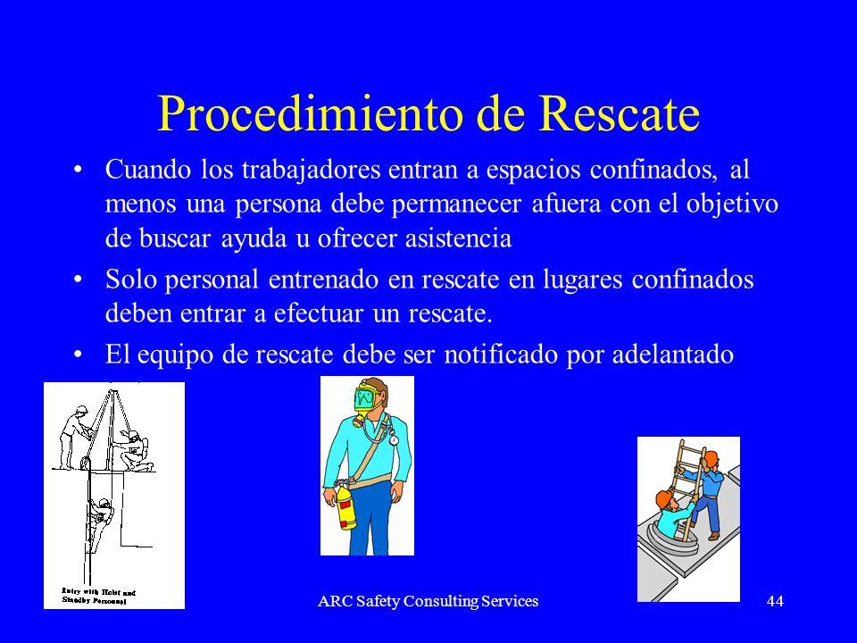 ARC Safety Consulting Services44 Procedimiento de Rescate Cuando los trabajadores entran a espacios confinados, al menos una persona debe permanecer a