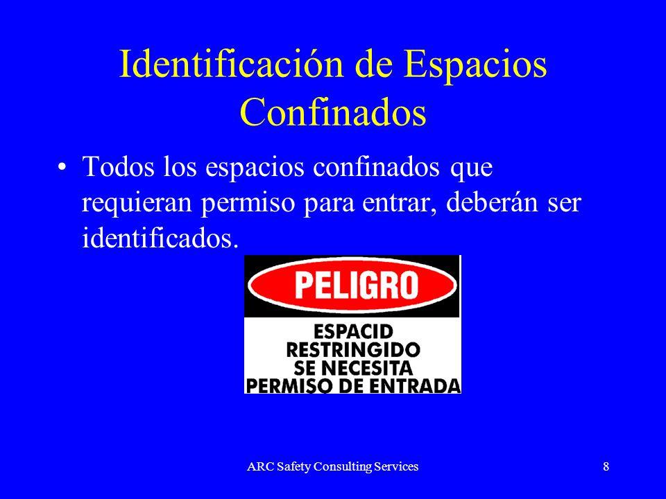 ARC Safety Consulting Services8 Identificación de Espacios Confinados Todos los espacios confinados que requieran permiso para entrar, deberán ser ide