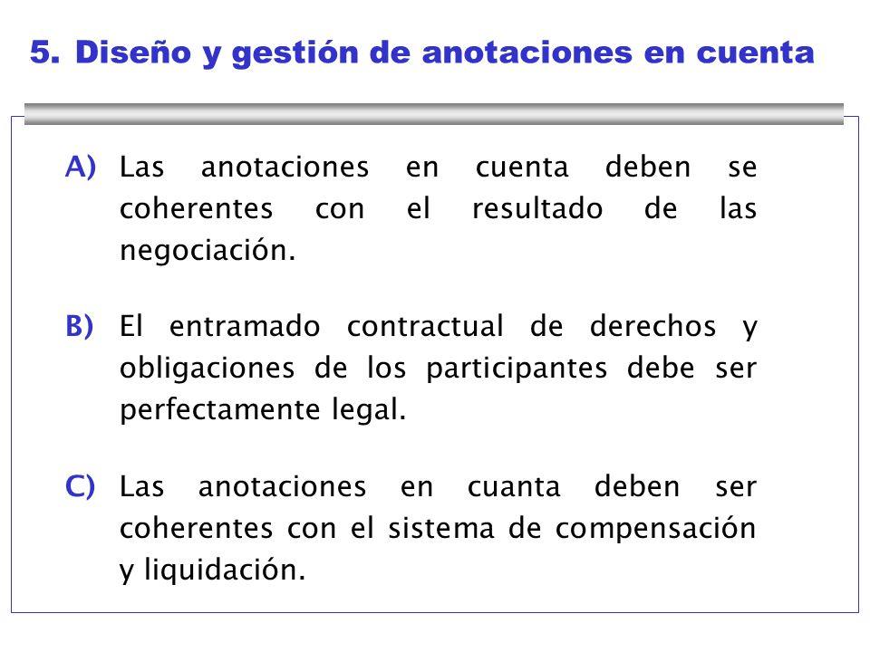 5.Diseño y gestión de anotaciones en cuenta A)Las anotaciones en cuenta deben se coherentes con el resultado de las negociación. B)El entramado contra