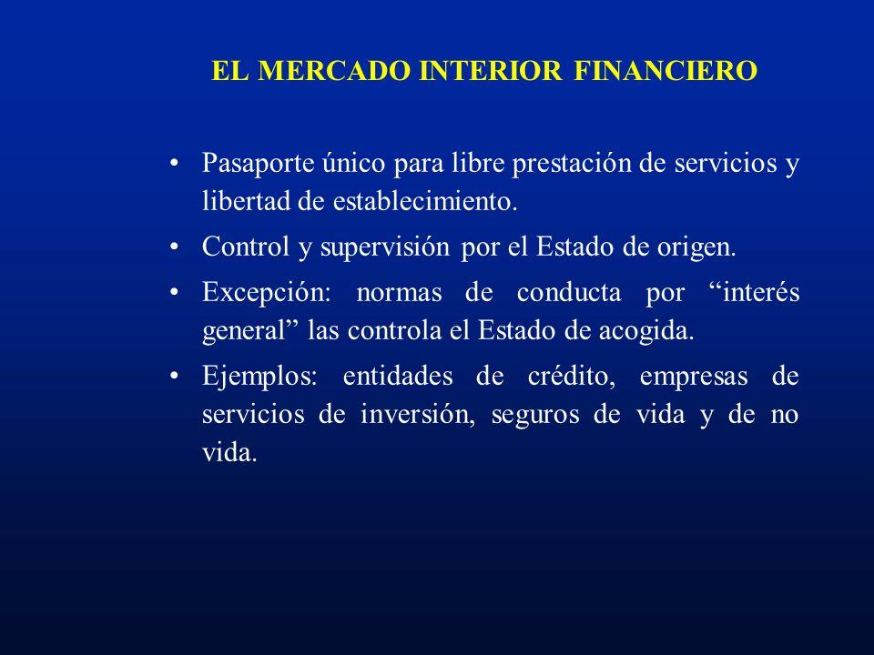 EL MERCADO INTERIOR FINANCIERO Pasaporte único para libre prestación de servicios y libertad de establecimiento. Control y supervisión por el Estado d