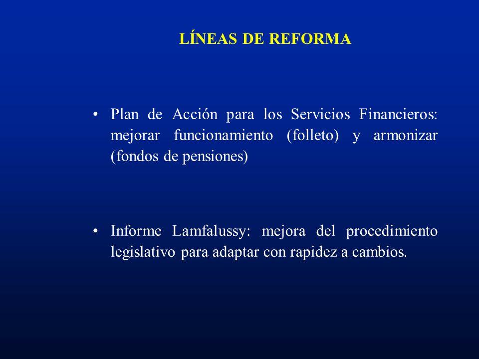LÍNEAS DE REFORMA Plan de Acción para los Servicios Financieros: mejorar funcionamiento (folleto) y armonizar (fondos de pensiones) Informe Lamfalussy