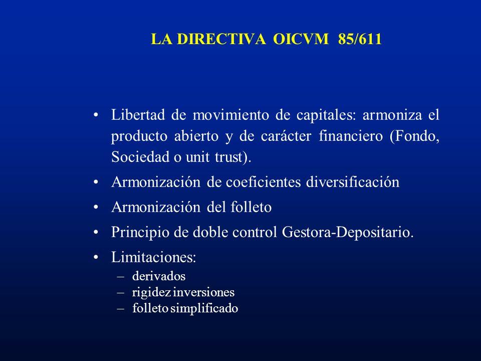 LA DIRECTIVA OICVM 85/611 Libertad de movimiento de capitales: armoniza el producto abierto y de carácter financiero (Fondo, Sociedad o unit trust). A