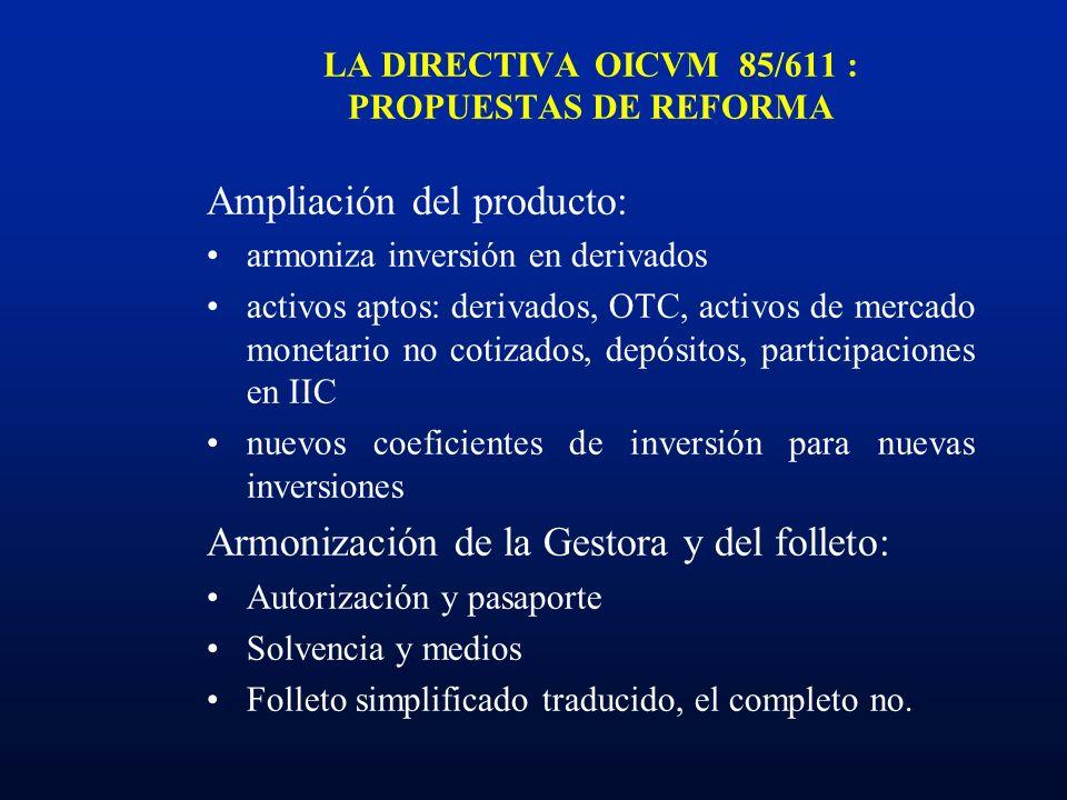 LA DIRECTIVA OICVM 85/611 : PROPUESTAS DE REFORMA Ampliación del producto: armoniza inversión en derivados activos aptos: derivados, OTC, activos de m