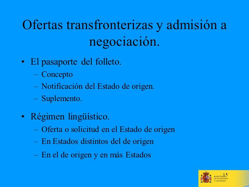 15 Ofertas transfronterizas y admisión a negociación. El pasaporte del folleto. –Concepto –Notificación del Estado de origen. –Suplemento. Régimen lin