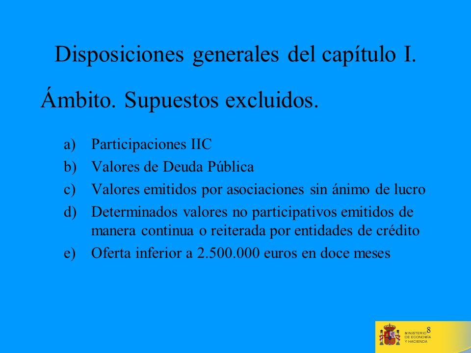 8 Disposiciones generales del capítulo I. Ámbito. Supuestos excluidos. a)Participaciones IIC b)Valores de Deuda Pública c)Valores emitidos por asociac