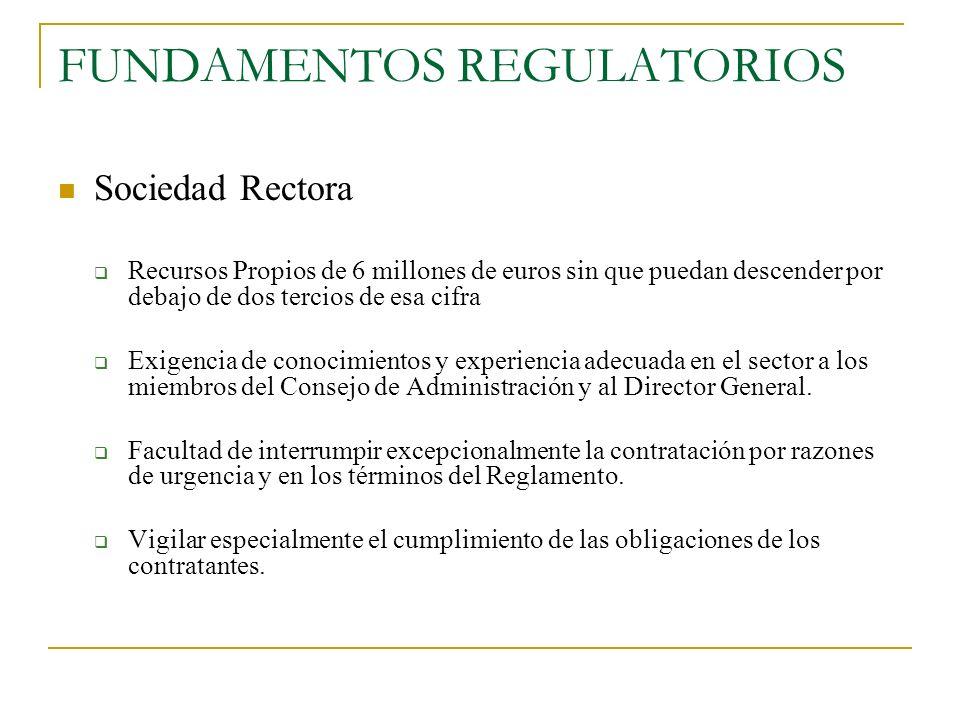 FUNDAMENTOS REGULATORIOS Sociedad Rectora Recursos Propios de 6 millones de euros sin que puedan descender por debajo de dos tercios de esa cifra Exig